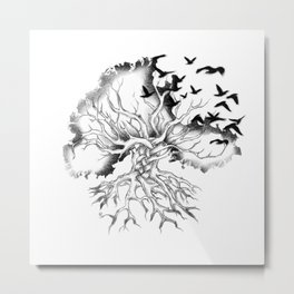 Hand designed Celtic pattern tree with knots and crows Metal Print