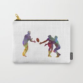 Rugby men players 02 in watercolor Carry-All Pouch