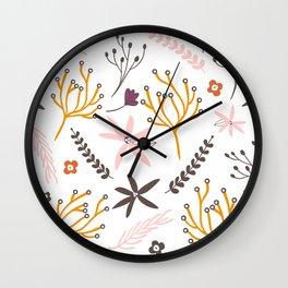 Fall Floral Patten Wall Clock