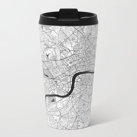 London Map Gray Metal Travel Mug