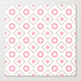 Pink pastel pattern of rhombuses and circles Canvas Print