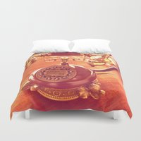 telephone Duvet Covers featuring old telephone by gzm_guvenc