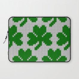 Shamrock pattern - white, green Laptop Sleeve