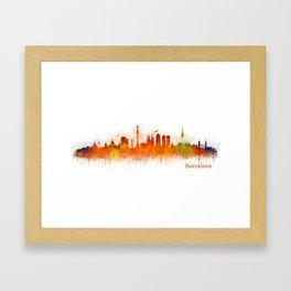 Barcelona City Skyline Hq _v3 Framed Art Print