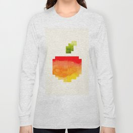 Pixel Watercolor Peach Geometric Fruit Colorful Pink Red Yellow Sunset Colors Long Sleeve T-shirt