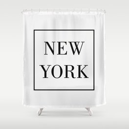 """"""" Travel Collection """" - Minimal New York Typography Shower Curtain"""
