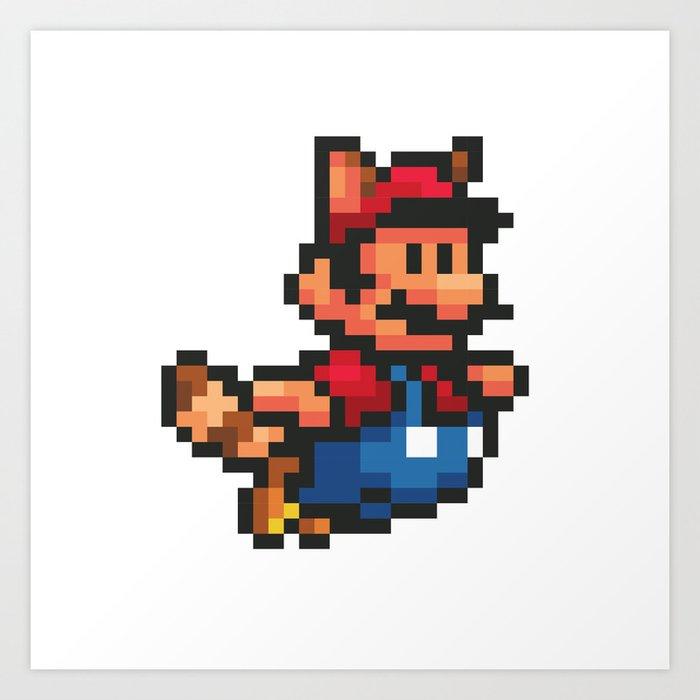 pixelated super mario bros mario art print - Super Mario Pictures To Print