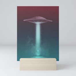 Alien being abducted by spaceship  Mini Art Print