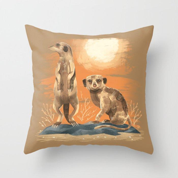 Mjh Menagerie Meerkat Throw Pillow By Michaeljhildebrand Society6