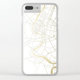Bangkok Thailand Minimal Street Map - Gold Metallic and White II Clear iPhone Case