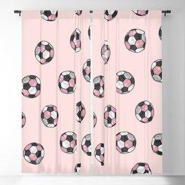 Girly Pink Gray Glitter Foil Soccer Ball  Pattern Blackout Curtain
