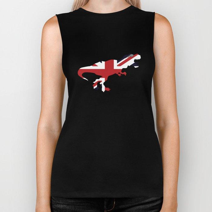 Union Jack T-rex United Kingdom Flag Biker Tank