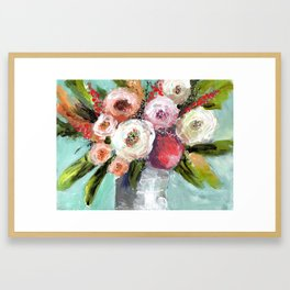 Peach and White Roses Framed Art Print