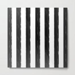 minimalist black painted stripes Metal Print