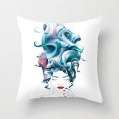 A girl with aqua hair Throw Pillow