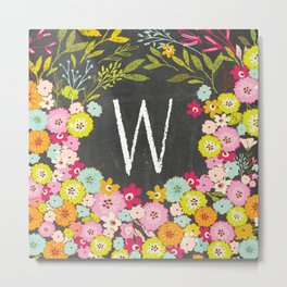 W botanical monogram. Letter initial with colorful flowers on a chalkboard background Metal Print