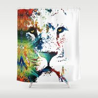nfl Shower Curtains featuring Colorful Lion Art By Sharon Cummings by Sharon Cummings