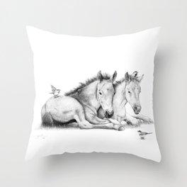 Twin Foals Throw Pillow