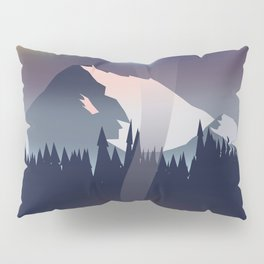Iceland Northern lights travel poster Pillow Sham