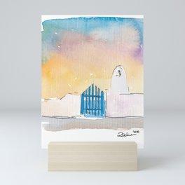 Santorini Blue Gate Sea Greece Mini Art Print