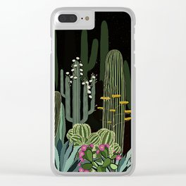 Cactus Garden at Night Clear iPhone Case