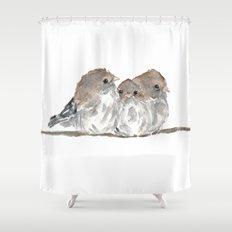 Cuddling birds Shower Curtain