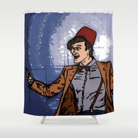 fez Shower Curtains featuring ain't never gonna do it without the fez on by Melvin Pena