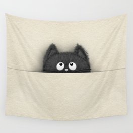Cute Fluffy Black cat peaking out Wall Tapestry