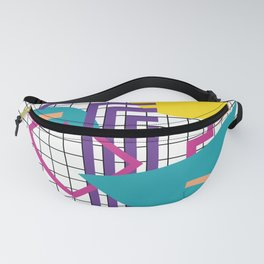 Memphis Pattern - 80s Retro White Fanny Pack
