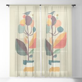 Potted plant with a bird Sheer Curtain