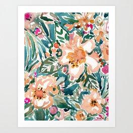 TROPICAL TUMBLE Colorful Paradise Floral Art Print
