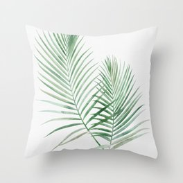 Twin Tropical Palm Fronds - Emerald Green Throw Pillow