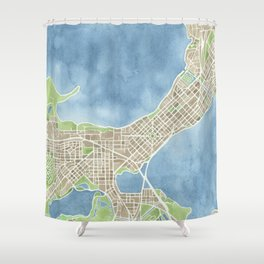 City Map Madison Wisconsin watercolor  Shower Curtain