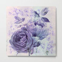 roses and ivy in purple Metal Print