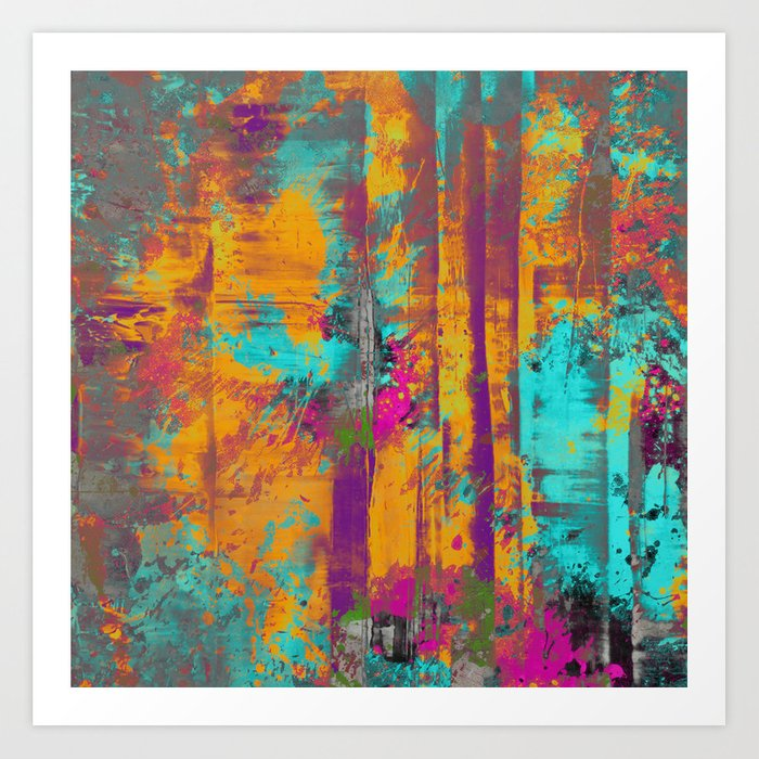 Abstract Orange Blue Pink Purple And Green