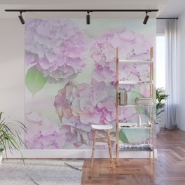 Painterly Hydrangea flowers on a pastel background Wall Mural
