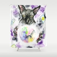 sphynx Shower Curtains featuring Daubie the fortune teller  by Psyca