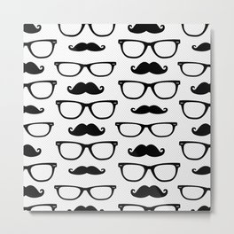 Hipster Pattern White and Black Metal Print