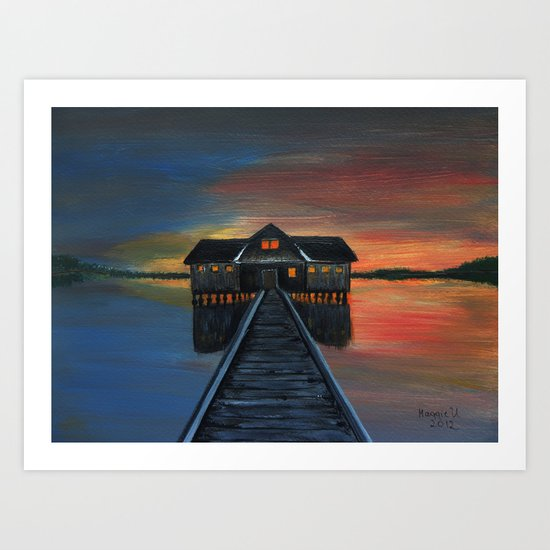 Old boat house  Art Print