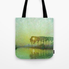 Sunset on the Lys landscape painting by Emile Claus Tote Bag
