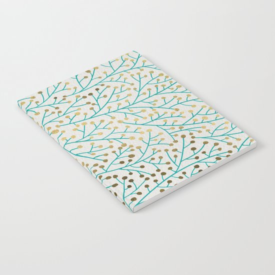 Berry Branches – Turquoise & Gold Notebook