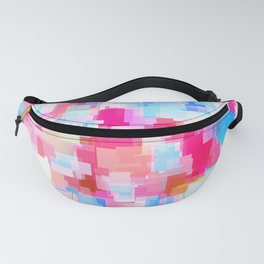 geometric square pattern abstract background in pink and blue Fanny Pack