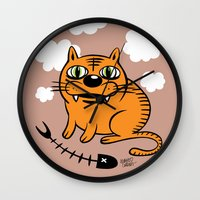 fat Wall Clocks featuring FAT CAT by Alberto Corradi