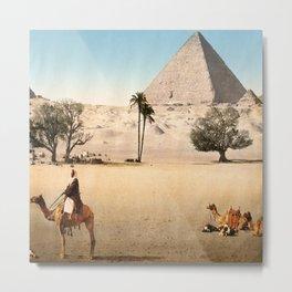 Vintage Pyramid : Grand Pyramid Gizeh Egypt 1895 Metal Print