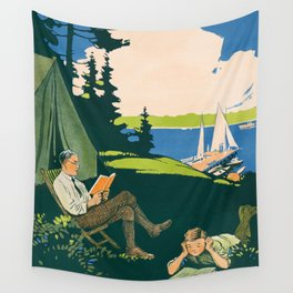 Let's go camping and read a book Wall Tapestry