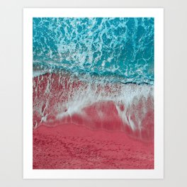 SPLASH - Electric Pink Sand and Turquoise Waves Art Print