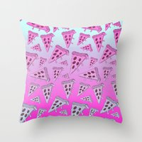 pizza Throw Pillows featuring PIZZA by TheYUCK