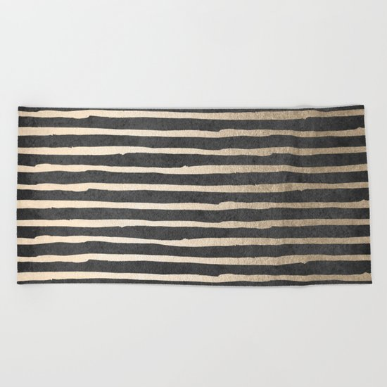 White Gold Sands Thin Stripes on Black Beach Towel
