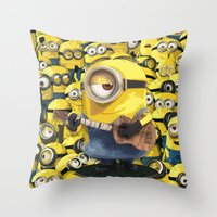 minions Throw Pillows featuring MINIONS by DisPrints