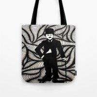 chaplin Tote Bags featuring Charlie Chaplin by Gabrielle Wall